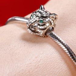 Charm Reale Tigre In Argento Sterling