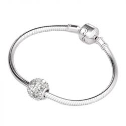 Pave Pietre Charm In Argento Sterling