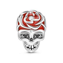 Teschio Rosso Charm In Argento Sterling